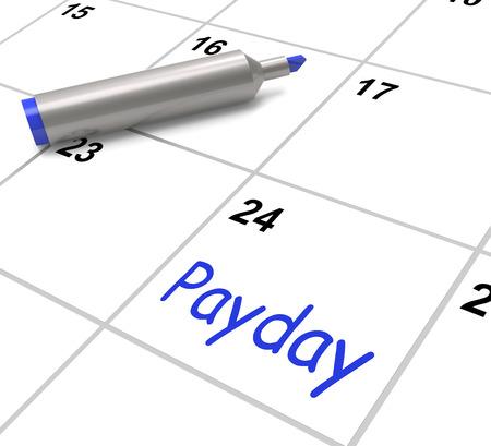Payday kalender met salaris of loon over werkgelegenheid