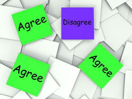 Agree Disagree Notes Meaning Agreeing Or Opposing photo