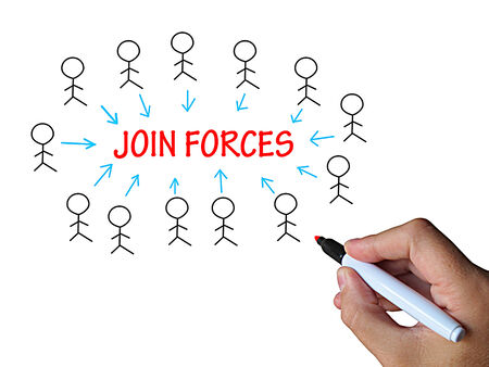 joining forces: Join Forces On Whiteboard Showing United Strength And Power Stock Photo