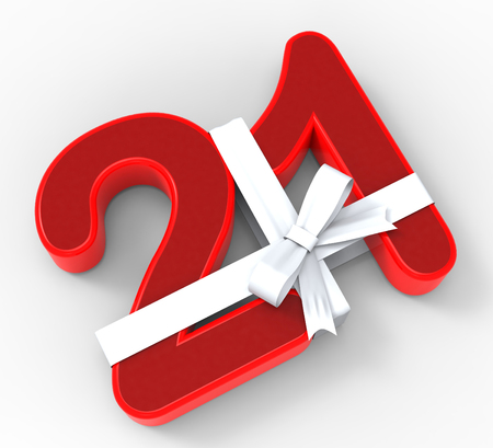 twenty one: Number Twenty One With Ribbon Meaning Birthday Celebrations Or Event Decoration Stock Photo