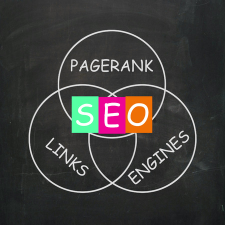 optimizer: SEO On Blackboard Showing Search Engine Optimizer Or Online Development Stock Photo