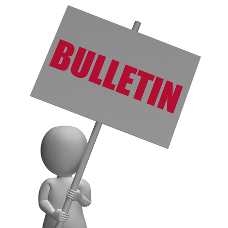 notification: Bulletin Protest Banner Showing Official Notification Announces Or Notice board