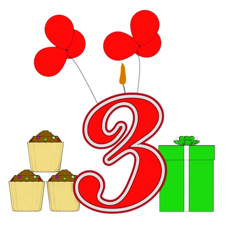 Number Three Candle Showing Birthday Presents Balloons And Cupcakes photo