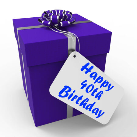 age forty: Happy 40th Birthday Gift Showing Age Forty Stock Photo