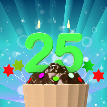 Twenty Five Candle On Cupcake Meaning Birth Anniversary Or Celebration photo