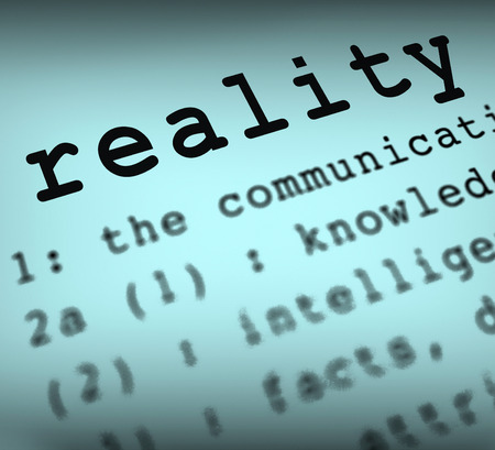 certainty: Reality Definition Showing Certainty Truth And Facts Stock Photo