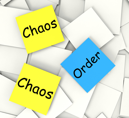 chaos order: Chaos Order Notes Showing Disorganized Or Ordered
