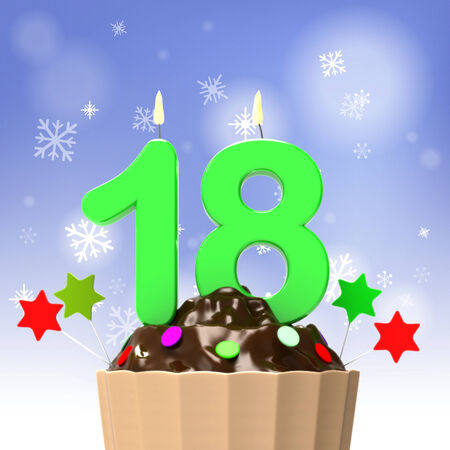 Eight teen Candle On Cupcake Showing Teen Birthday Celebration Or Party photo