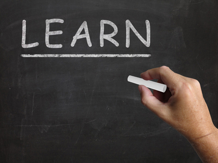 learnt: Learn Blackboard Meaning Student Education And Subjects Stock Photo