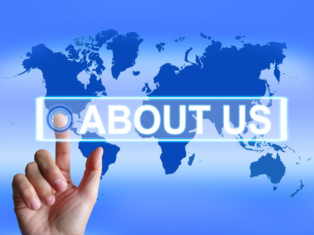 about us: About Us Map Showing Website Information of an International Company
