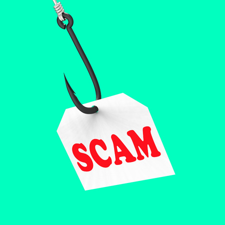 schemes: Scam On Hook Meaning Schemes Scamming Or Deceits Stock Photo