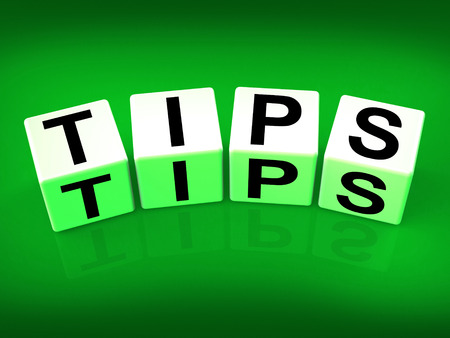 suggestions: Tips Blocks Meaning Hints Suggestions and Advice Stock Photo