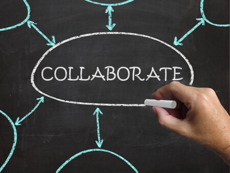 combined effort: Collaborate Blackboard Showing Working Together And Synergy