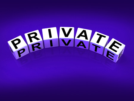 confidentially: Private Blocks Referring to Confidentiality Exclusively and Privacy Stock Photo
