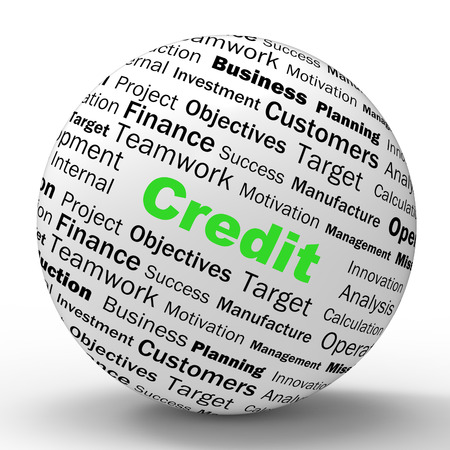 cashless: Credit Sphere Definition Showing Cashless Purchases Or Financial Loans Stock Photo