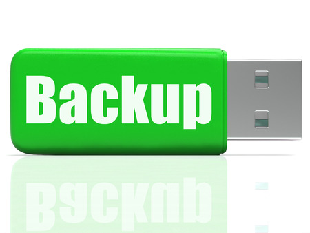 archiving: Backup Pen drive Showing Data Storage Archiving Or File Transfer Stock Photo