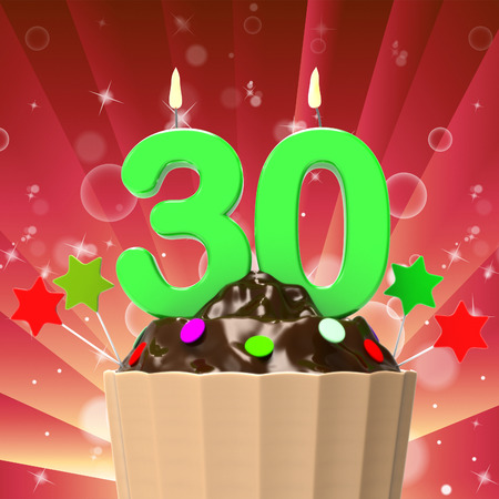 Thirty Candle On Cupcake Meaning Colourful Party Or Decorated Cakes photo