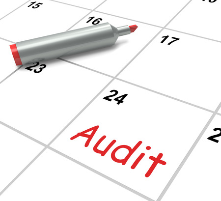 Audit Calendar Showing Inspecting And Verifying Finances Stock Photo