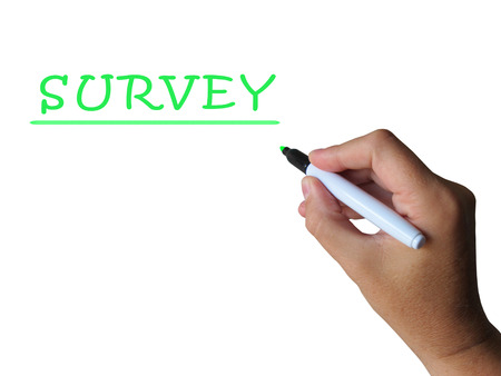 surveyed: Survey Word Meaning Collecting Information From Sample Stock Photo