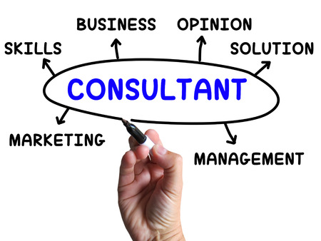 specialize: Consultant Diagram Showing Expert With Opinions And Solutions