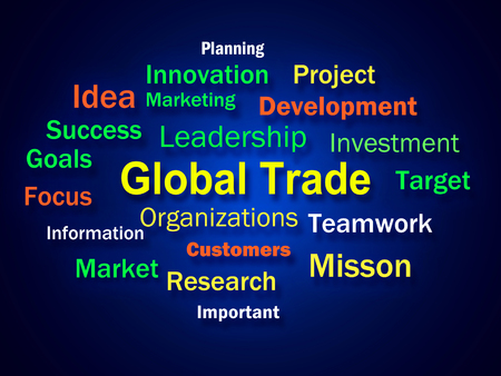 global trade: Global Trade Brainstorm Meaning Planning For International Commerce Stock Photo