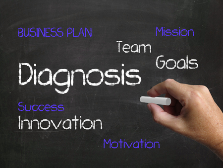 conclude: Diagnosis on Chalkboard Meaning to Analyze Diagnose and Conclude Stock Photo
