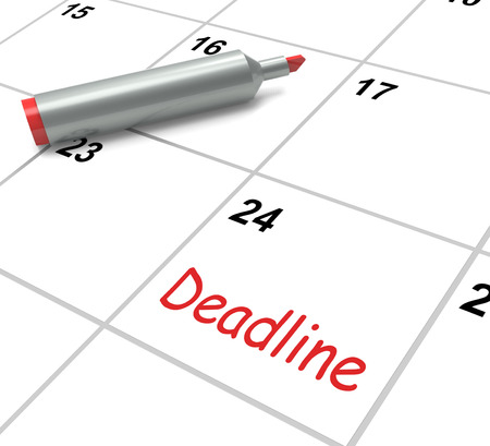 due date: Deadline Calendar Showing Due Date And Cutoff