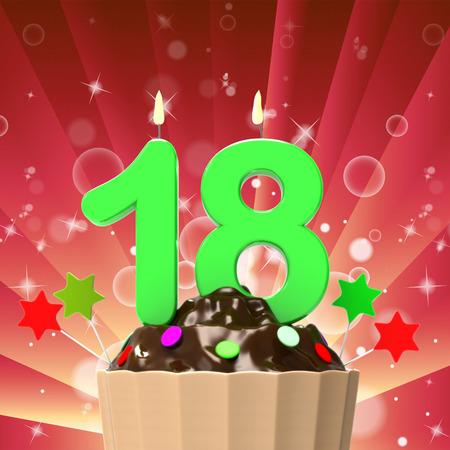 eighteenth: Eighteen Candle On Cupcake Meaning Eighteenth Birthday Cake Or Celebration