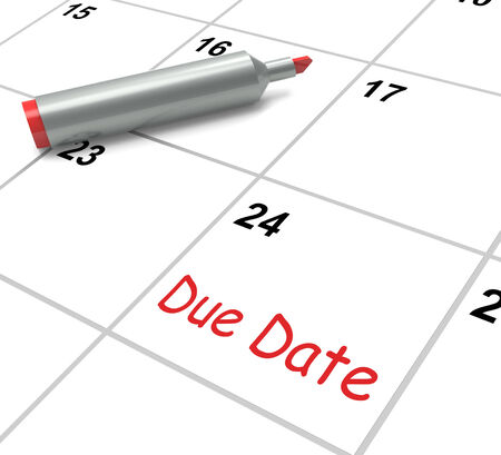 due date: Due Date Calendar Showing Deadline For Submission