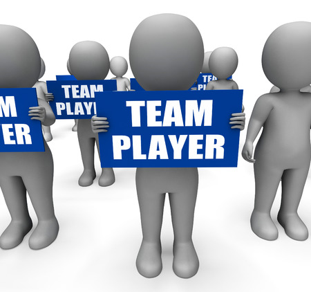 teammate: Characters Holding Team Player Signs Show Teamwork Partnership Or Teammate Stock Photo