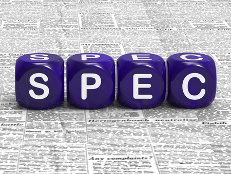 Spec Dice Meaning Specification Requirements And Details Stock Photo