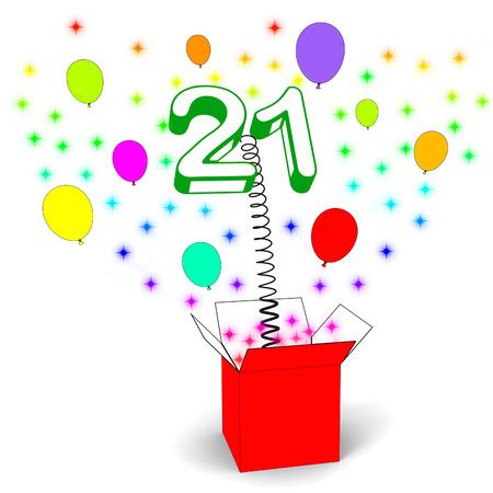 Number Twenty One Surprise Box Showing Birthday Celebration Or Party photo
