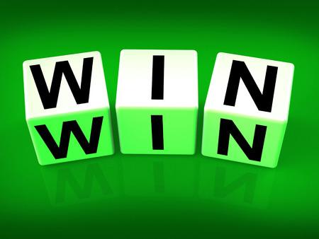 triumphant: Win Blocks Indicating Success Triumphant and Winning