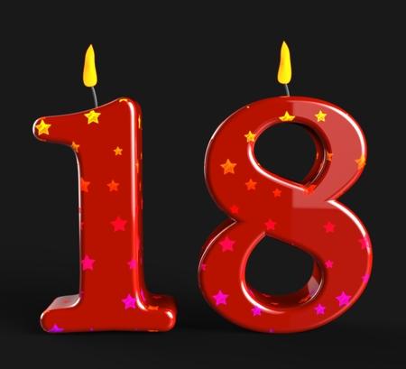eighteen: Number Eighteen Candles Showing Teen Birthday Or Decoration