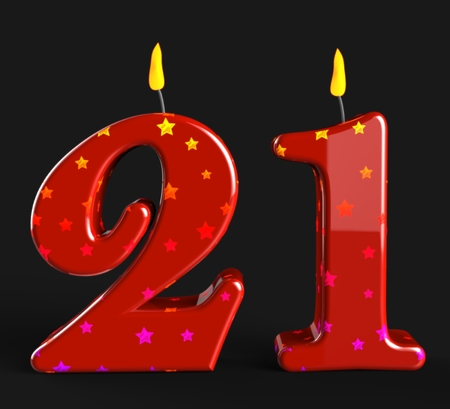 twenty one: Number Twenty One Candles Meaning Adult Celebration Or Party Stock Photo