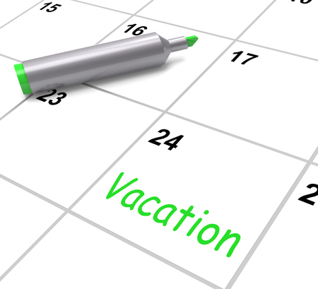 day off: Vacation Calendar Showing Day Off Work Or Holiday