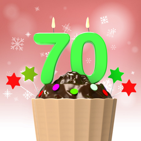 seventieth: Seventy Candle On Cupcake Showing Elderly Celebration Or Reunion