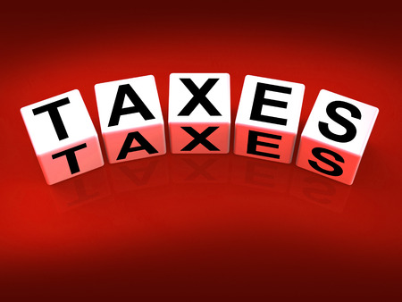 excise: Taxes Blocks Representing Duties and Taxation Documents Stock Photo