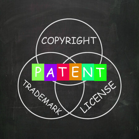 patents: Patent Copyright License and Trademark Showing Intellectual Property Stock Photo