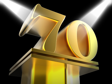 seventieth: Golden Seventy On Pedestal Meaning Honourable Mention Or Excellence
