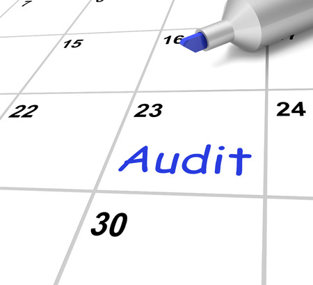 audits: Audit Calendar Showing Investigating And Reviewing Finances Stock Photo