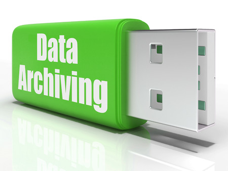 archiving: Data Archiving Pen drive Showing Data Storage Transfer And Organization