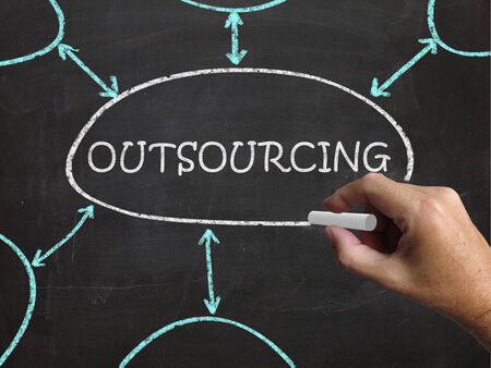 suppliers: Outsourcing Blackboard Meaning Freelance Workers And Contractors Stock Photo