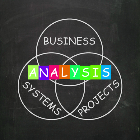 test probe: Analysis Showing Analyzing Business Systems and Projects Stock Photo
