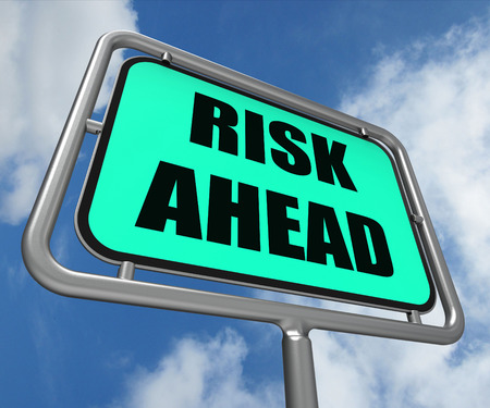 risk ahead: Risk Ahead Sign Showing Dangerous Unstable and Insecure Warning Stock Photo