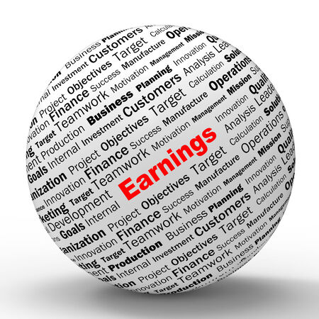 lucrative: Earnings Sphere Definition Shows Lucrative Incomes Revenues Or Profits Stock Photo