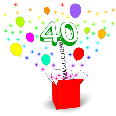 numerous: Number Forty Surprise Box Means Unexpected Celebration Or Party Stock Photo