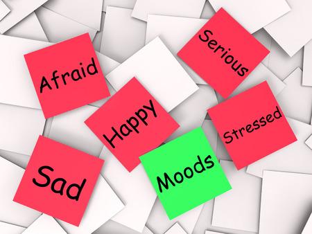 Moods Note Meaning Happy Sad Stressed Afraid Stock Photo