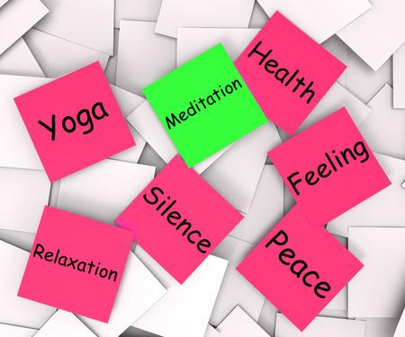 paz interior: Meditaci�n Nota Mostrando Meditar y paz interior