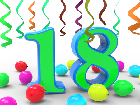 eighteen: Number Eighteen Party Meaning Colourful Teen Celebration Or Event